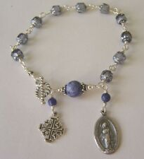 Sterling silver Cathedral sapphire rosary bracelet
