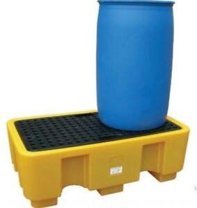 TWIN DRUM BUND WITH PLATFORM TRANSPORT FOR DRUMS JERRICANS OIL STORAGE NEW