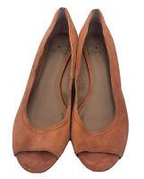 Lucky Brand Size 9 M Orange Suede Upper Peep Toe Wedges