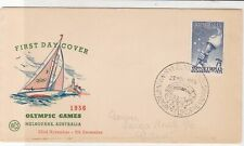 Australia 1956 Olympic Games Sailing Boat SloganCancel FDC Stamps Cover ref22055