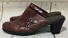 Clarks Bendables Brown Leather Double Strap Mules Heels Shoes Size 8M