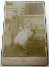 VINTAGE ANTIQUE CABINET PHOTO - BOY & GIRL IN WHEELCHAIR