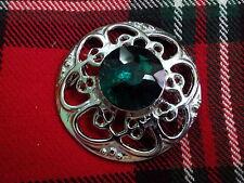 TC New Kilt Fly Plaid Brooch Celtic Design Green Stone/CELTIC Fly Plaid Brooches