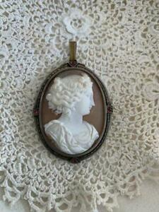 United Kingdom Antique Jewelry Victorian Cameo Pendant With Ruby