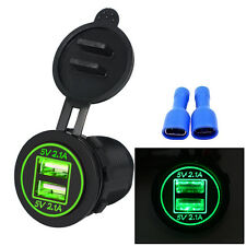 DC 12V 2.1A Waterproof Motorcycle Car Dual USB LED Charger Socket Power Outlet