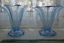 2 Vintage blue pressed glass vases. fluted shape Art Deco.