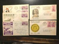 1936 (5) FDC Oregon Centennial Stamp Cachet LOT-V-GOOD -FREE SHIPPING