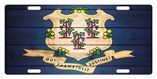 Connecticut State Flag  Custom License Plate State Emblem Wood Version