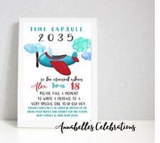 1st Birthday Time Capsule Plane Boys Aeroplane - Print Invite Party