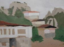 Vintage oil painting landscape village