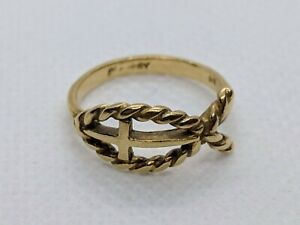 RETIRED James Avery 14k Yellow Gold Twisted Wire Ichthus Ring Size 5 FREE SHIP
