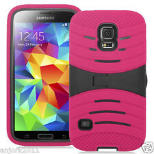 SAMSUNG GALAXY S5 SPORT G860 HYBRID WAVE ARMOR SKIN COVER W/STAND HOT PINK BLACK
