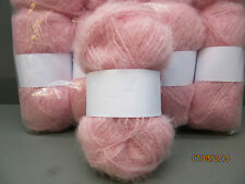 Mohair Wool Yarn 10 x 50g Balls Pale Pink 78% Mohair Double Knitting