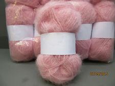 Mohair Wool Yarn 10 x 50g Balls Pale Pink 78% Mohair Double Knitting