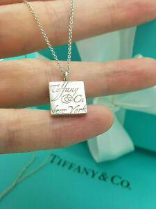 """Tiffany & Co. Rare Square Notes LOGO Pendant 16"""" Necklace in Sterling Silver"""
