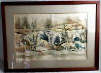 Vintage Watercolor/Gouache Landscape Lake Painting Framed Unknown Artist