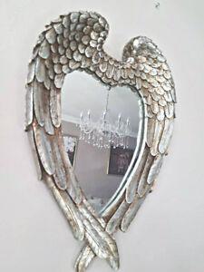 Antique Silver Feather Effect Love Heart Wall Mirror Bedroom Vanity Indoor Home