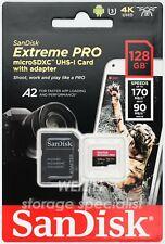 SanDisk 128GB Extreme PRO micro SD SDHC 170MB/s UHS-I U3 V30 Card 4K UHD A2 128G