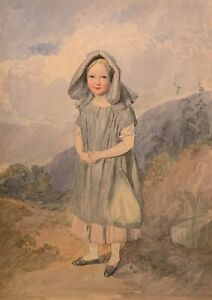 19th c. Signed BRITISH ENGLISH WATERCOLOR PAINTING Off to Church LITTLE GIRL