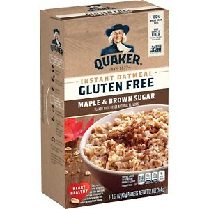 Quaker Instant Oatmeal, Gluten Free, Maple Brown Sugar, 8 Pkt Box - Pack of 4