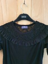 Black Ruffle Frilled Lace Top 14 16 Victorian Vintage Gothic Cosplay LARP