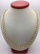 "New 10K Yellow Gold Hollow 24"" Diamond Cut Rope Twist Chain Necklace 9.4 g, 5 mm"