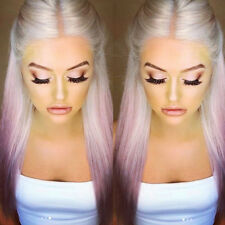 Fashion Womens Lady Gradient Purple Wig Gray Wigs Long Straight Hairpiece Party