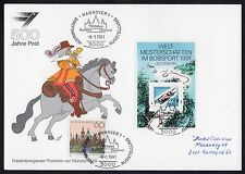 Germany: First Day illustrated souvenir sheet; Hanover stamp and bobsleigh sheet