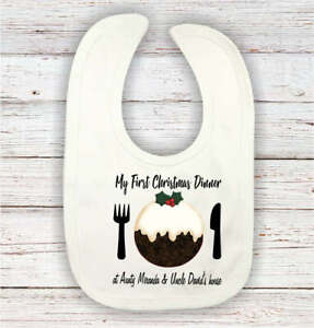 My 1st xmas dinner with my any name personalised baby boy bib Christmas