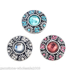W09 3PCs Mixed Alloy Button Set Circular Rhinestone Snap Button jewelry 20mm