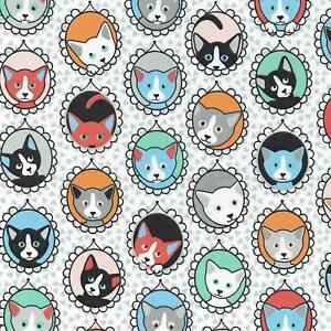 Textiles français The Cat Portrait Gallery fabric - 100% Cotton 160 cm wide