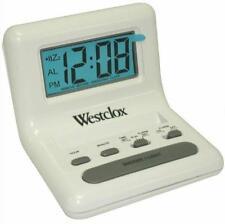 "Westclox White 0.8"" LCD Alarm Clock Battery Powered Snooze"