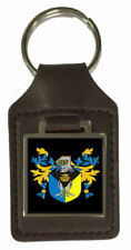 Acombe Family Crest Surname Coat Of Arms Brown Leather Keyring Engraved