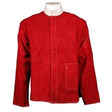 SWP Premium Cuero Rojo Kevlar Cosido Soldador Chaqueta TALLA XL
