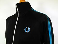 """Fred Perry Black Twin Taped Track Jacket - S/M/40"""" - Ska Mod Scooter 80's Casual"""