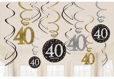 12 X cuadragésimo cumpleaños Colgantes remolinos Negro Plata Oro Decoraciones De Los 40