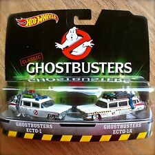 Hot Wheels Classic GHOSTBUSTERS ECTO-1 & ECT0-1A Diecast 2-PACK Rubber Tires