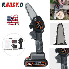 Cordless Electric Chain Saw Wood Cutter Mini One-Hand Saw Woodworking + Battery