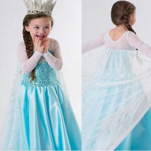 FROZEN ELSA ANNA PRINCESS DRESS KIDS COSTUME PARTY FANCY SNOW QUEEN USA Seller
