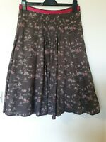 White Stuff Oriental Boat Horse Trees Print Skirt A Line Flare Size 10 12
