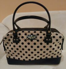 KATE  SPADE BELLETOWN JUSTINA Polka Dot HandBag CANVAS Purse Satchel MSRP $295