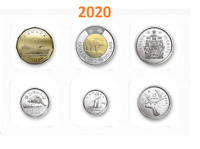 🇨🇦 2020 Full Set, Canada Uncirculated 6 Coins: 5 10 25 50 cents, $1, $2 | 2020