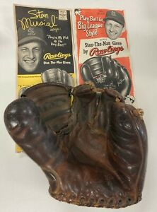 """VINTAGE STAN """"THE MAN"""" MUSIAL RAWLINGS PMM THREE FINGER GLOVE WITH 2 VINTAGE ADS"""