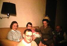KODACHROME Red Border 35mm Slide Iowa? Family Men Women Baby Sitting Sofa 1956!