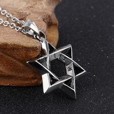 Star of David Sanskrit Mantra Silver Black Gold GP Stainless Steel Pendant Gift