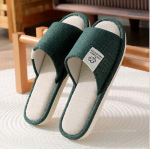 Women Men Linen Shoes Household Bedroom Slippers Indoor Mute Couples Open Toe