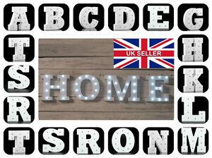 ALPHABET LETTER LIGHTS LED LIGHT UP WHITE  LETTERS NUMBERS STANDING / HANGING UK