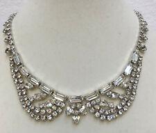 "Rhinestone Collar Necklace Wedding Glass Crystals 15"" Silver Tone Metal Prom"
