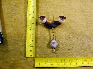 vintage pair acrylic glass eyes on a rocker age 1950 for Celluloid Doll Art 24