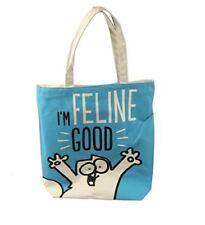 SIMONS CAT FELINE GOOD COTTON TOTE SHOPPER SHOULDER SHOPPING BAG NEW WITH TAGS
